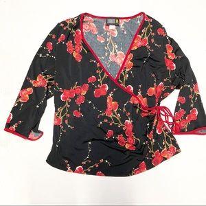 4/$20 Torrid faux wrap floral blossom top